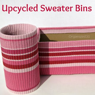 http://organized31.blogspot.com/2013/05/upcycled-sweater-to-stylish-organizing.html