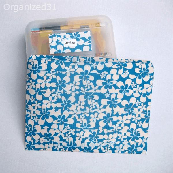 pencil box and folder