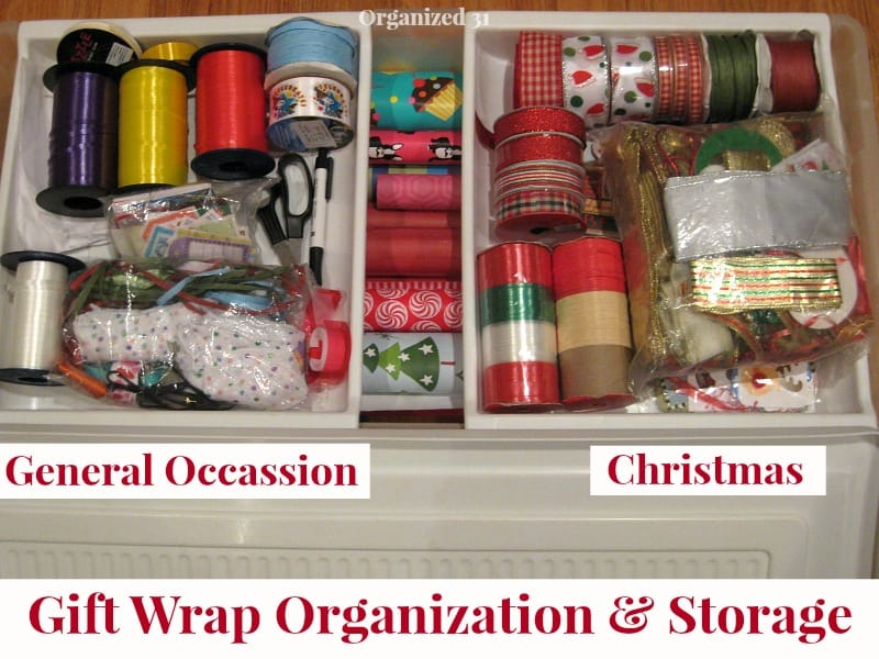 organized wrapping supplies with title text reading Gift Wrap Organization & Storage
