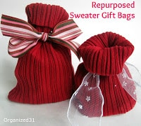 http://www.organized31.com/2013/02/repurposed-sweater-sleeve-gift-bags.html