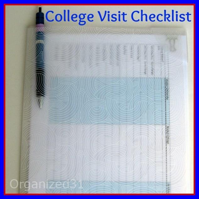 Organized 31- College Visit Checklist