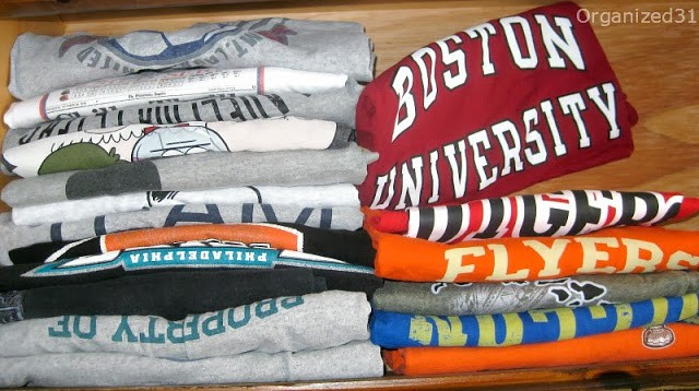 t-shirts file folded in drawer
