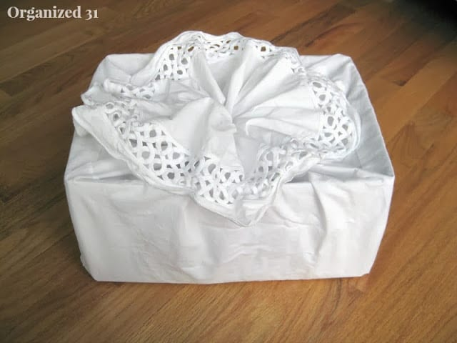 Upcycled Fabric Gift Bag from a repurposed thrifted bedskirt - Organized 31
