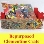 Repurposed Clementine Crate with Comic Books
