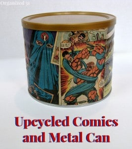 comic decorated tin can