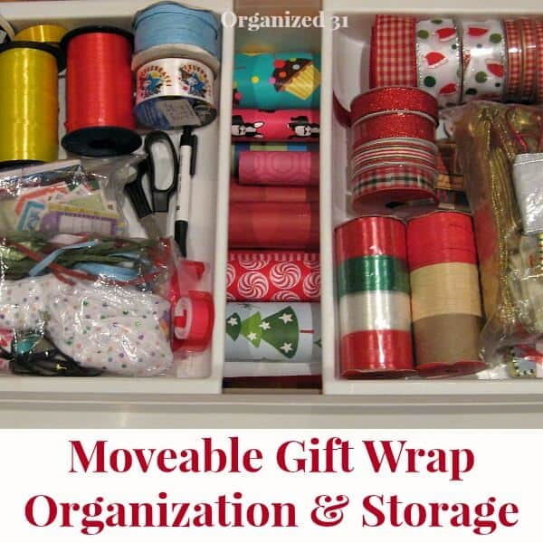 overhead view of plastic gift wrap organizing bin
