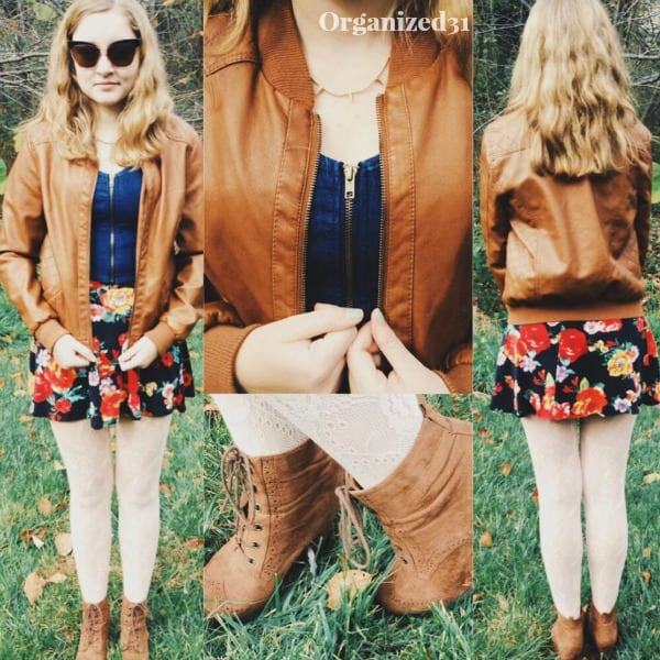 collage of woman wearing floral dress and brown leather jacket