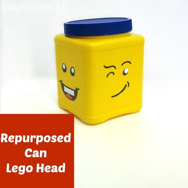 yellow storage ban with Lego face motiff