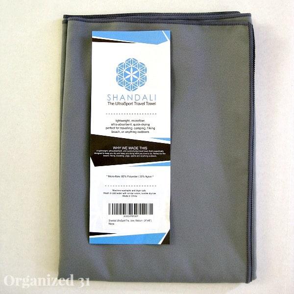 label on grey folded towel