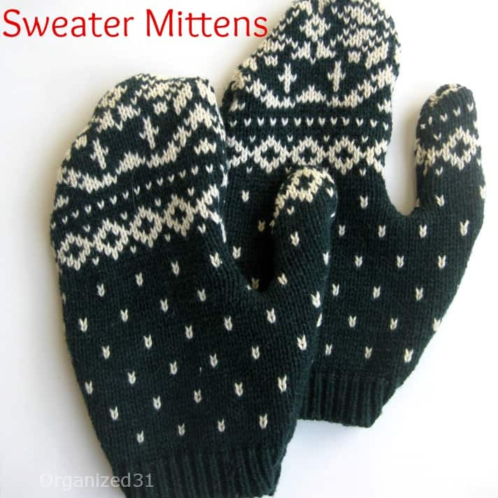 green and white sweater mittens on shite table