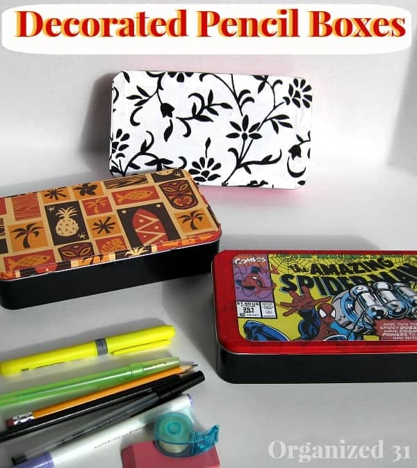 decorated pencil boxes