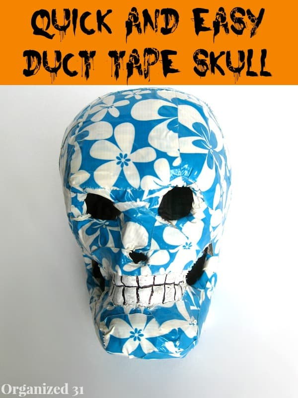 Easy Duct Tape Halloween Skull Decoration - Organized 31