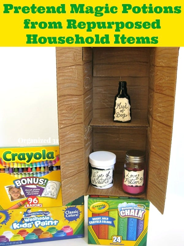 Pretend Potions from Repurposed Items and Crayola #ColorfulCreations @Walmart #shop - Organized 31
