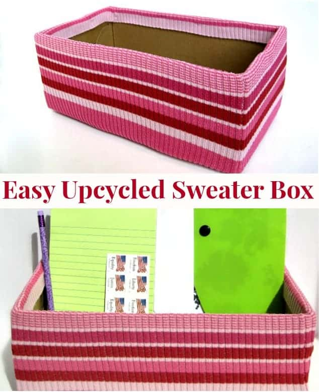 pink striped sweater covered box holding paper pads and other office items