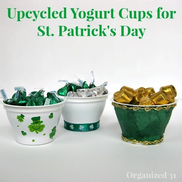 St. Patrick's Day upcycled-yogurt-cups