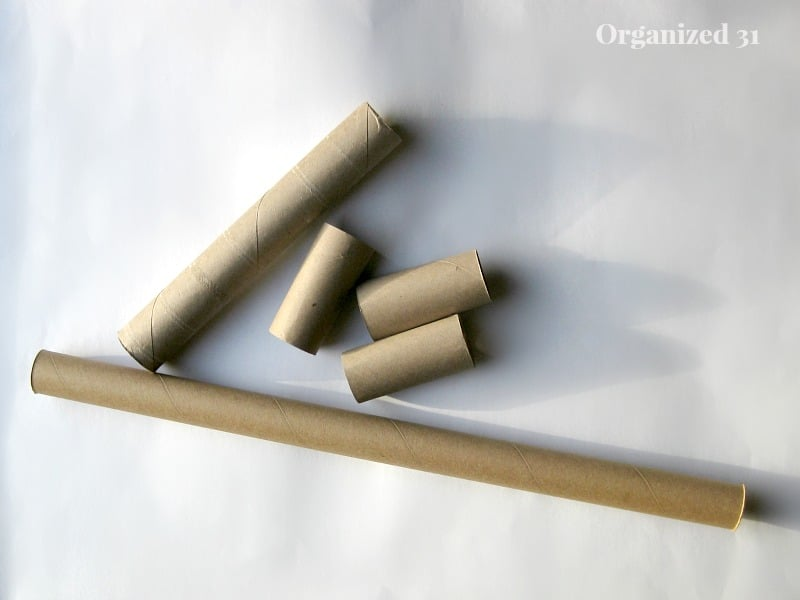 different lengths of cardboard rolls