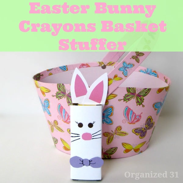 pink Easter basket with Easter bunny paper craft in front