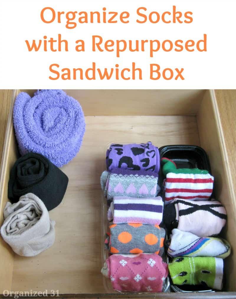 Organize Socks with a Repurposed Sandwich Box - Organized 31