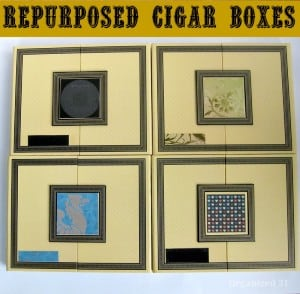 4 decorated cigar boxes