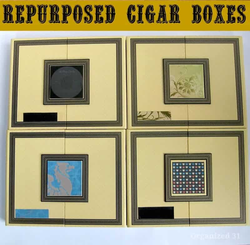 4 decorated cigar boxes with title text reading Repurposed Cigar Boxes