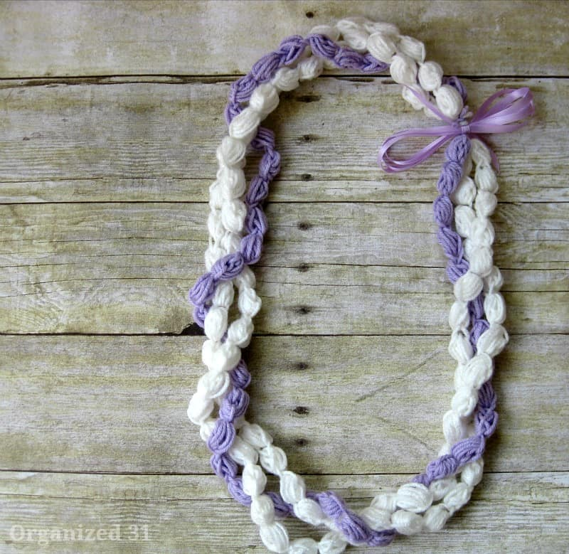 3 Strands of lei wrapped together to make completed lei.