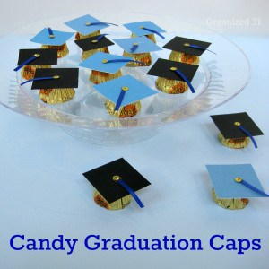 graduation caps made from candy on serving plate