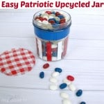red, white and blue jar with candy