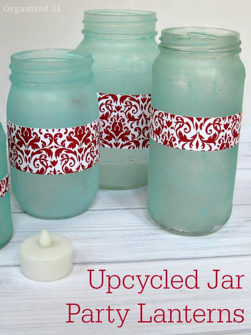 DIY sea glass jars with red paper bands