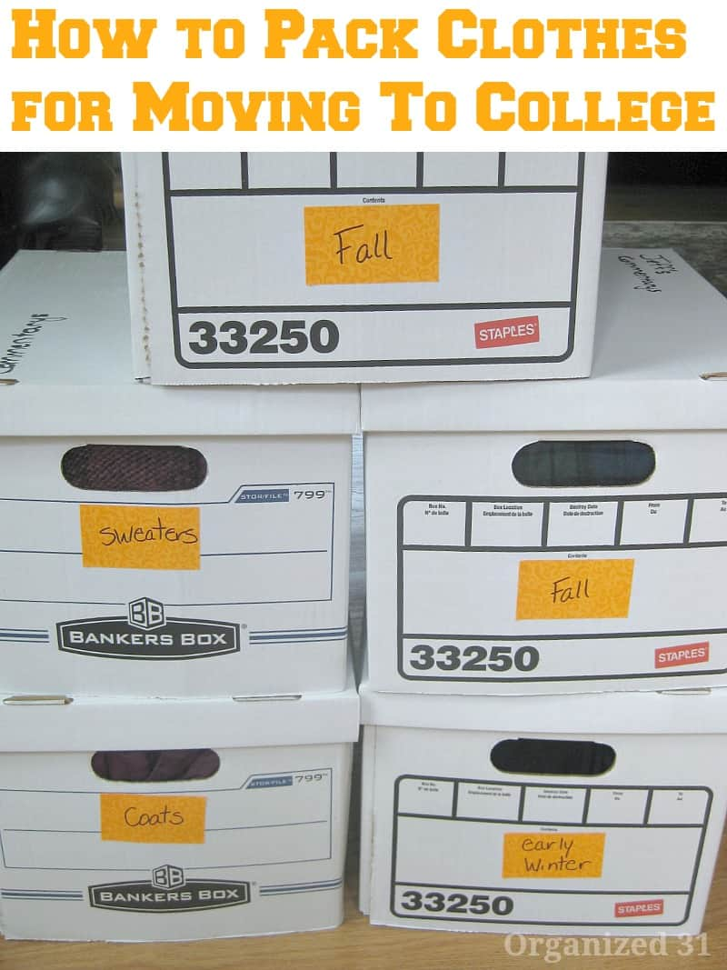 Stack of 5 white boxes labeled with types of clothing and text overlay.