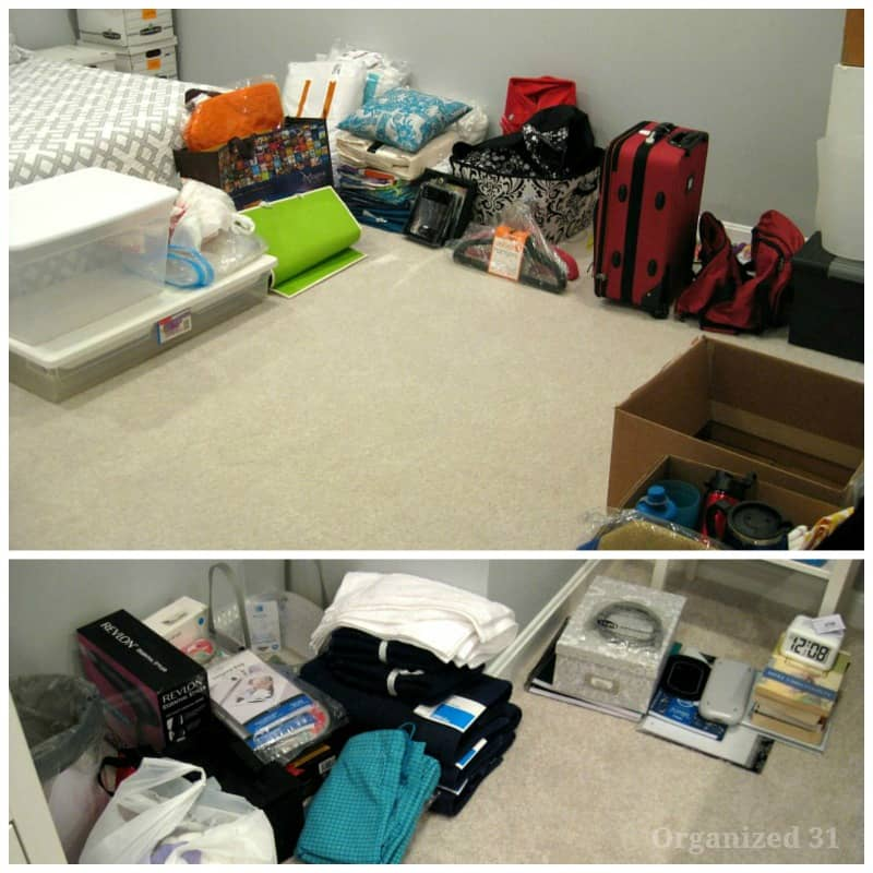 two images of dorm room items grouped around the edges of a bedroom prepared to be taken to college