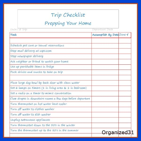Going on Vacation - House Preparation Checklist