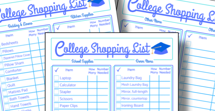 close up of 3 college shopping list pages