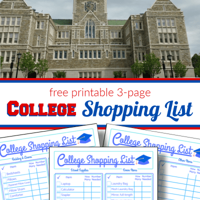 top - stone college building, bottom - 3 pages of the back to college shopping list