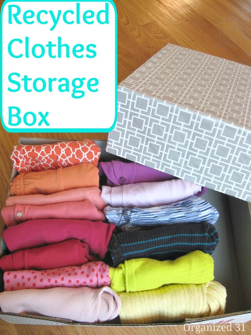 DIY box with neatly folded clothes