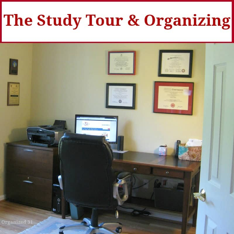 neatly organized office with title text reading The Study Tour & Organizing
