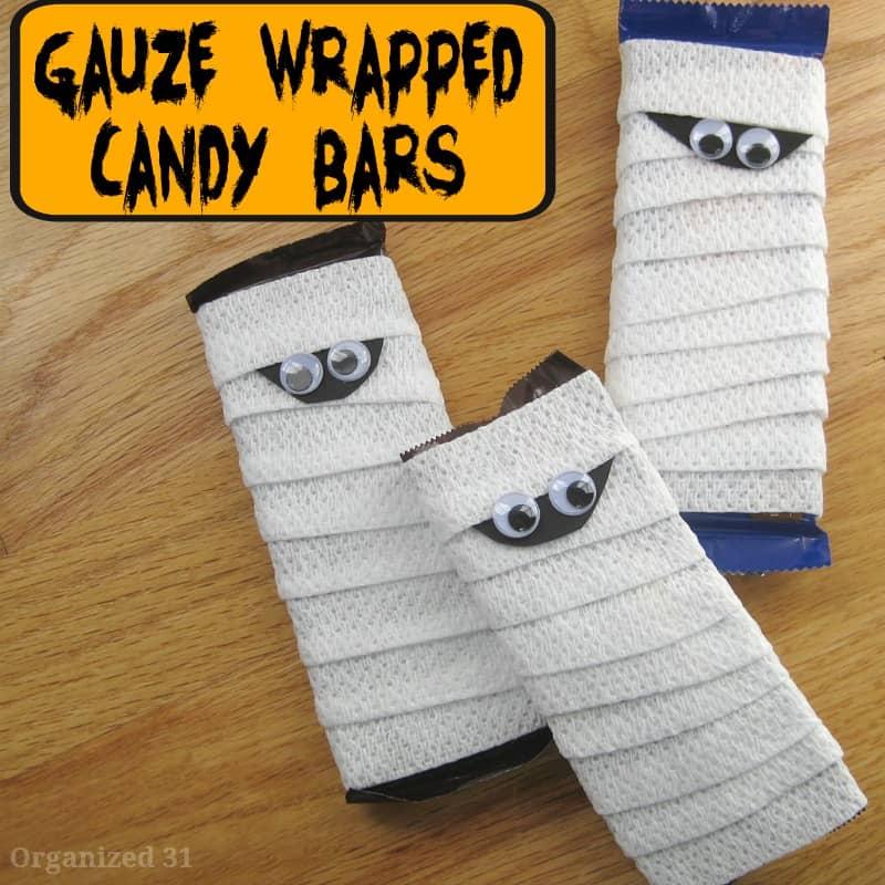 overhead view of 3 DIY gauze mummy candy bars