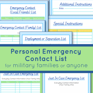 images of checklists for emergency contact information in blue and green