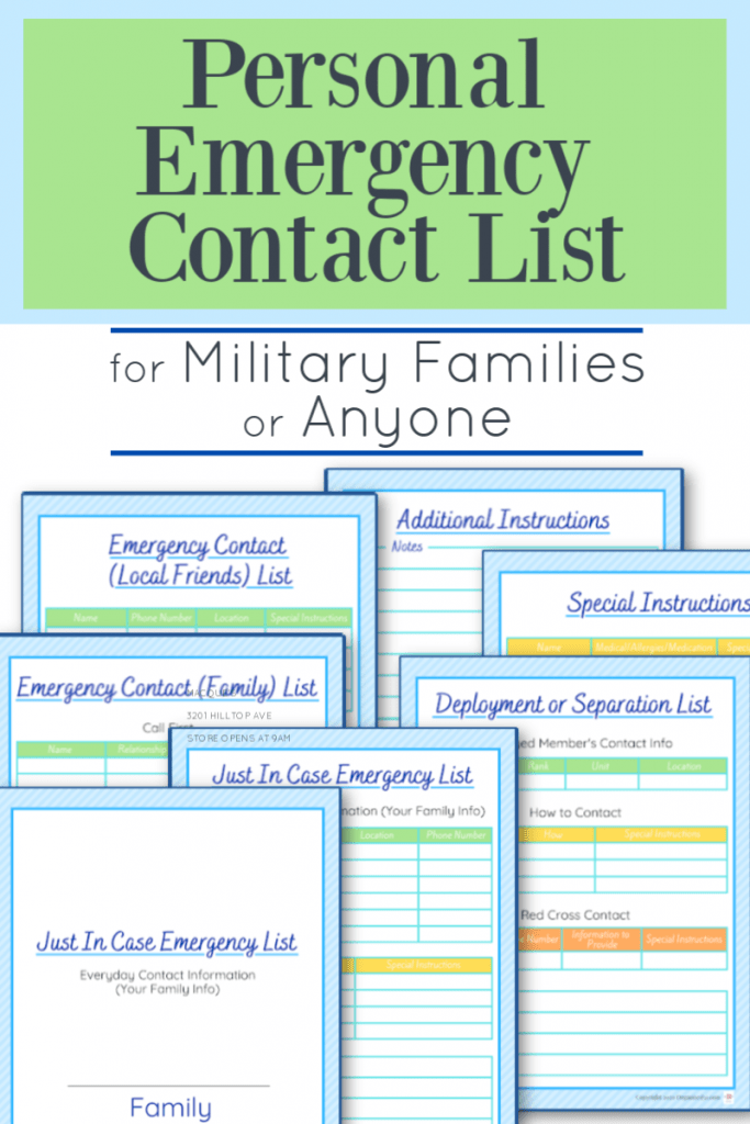 images of printable emergency contact information sheets with blue and green overlays reading Personal Emergency Contact List