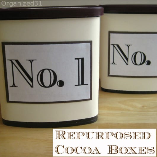 Repurposed Cocoa Can - Organized 31
