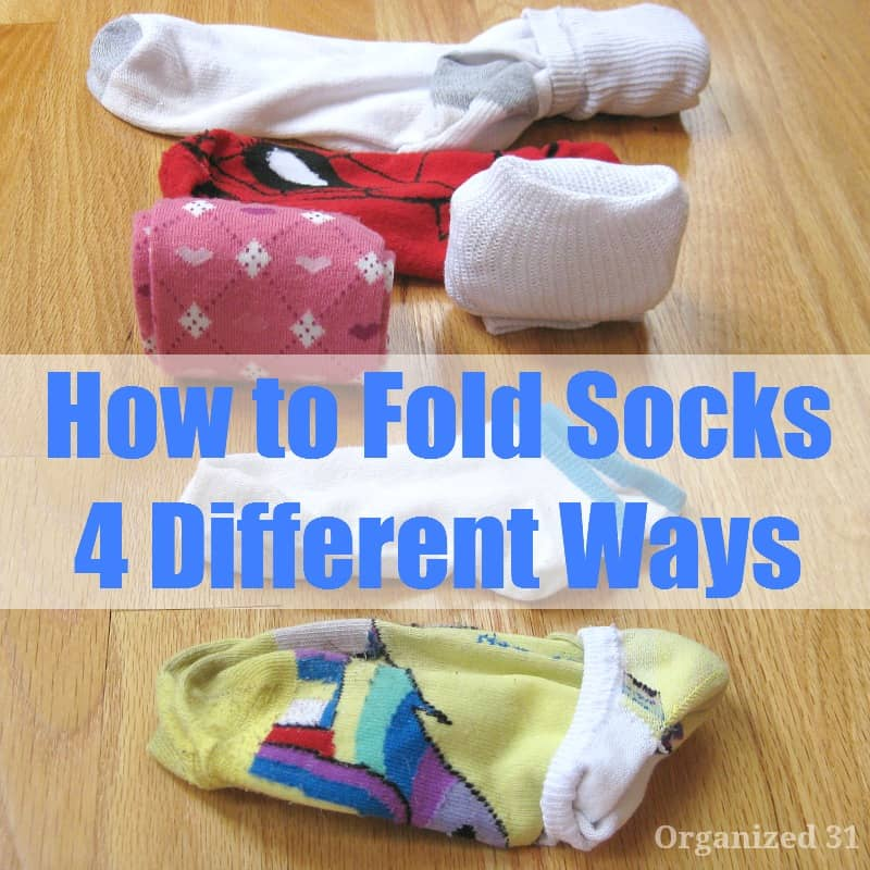 6 pairs of socks folded different ways with title text overlay reading How to Fold Socks 4 Different Ways