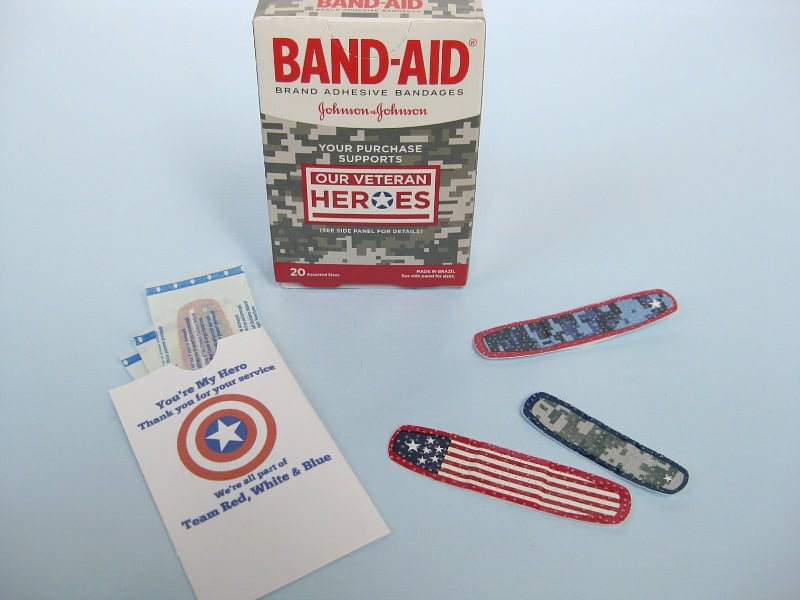 BAND-AID Our Veteran Heroes box with individual bandages and DIY gift envelope