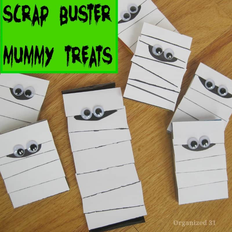 DIY mummy treats made from white paper scraps and googly eyes