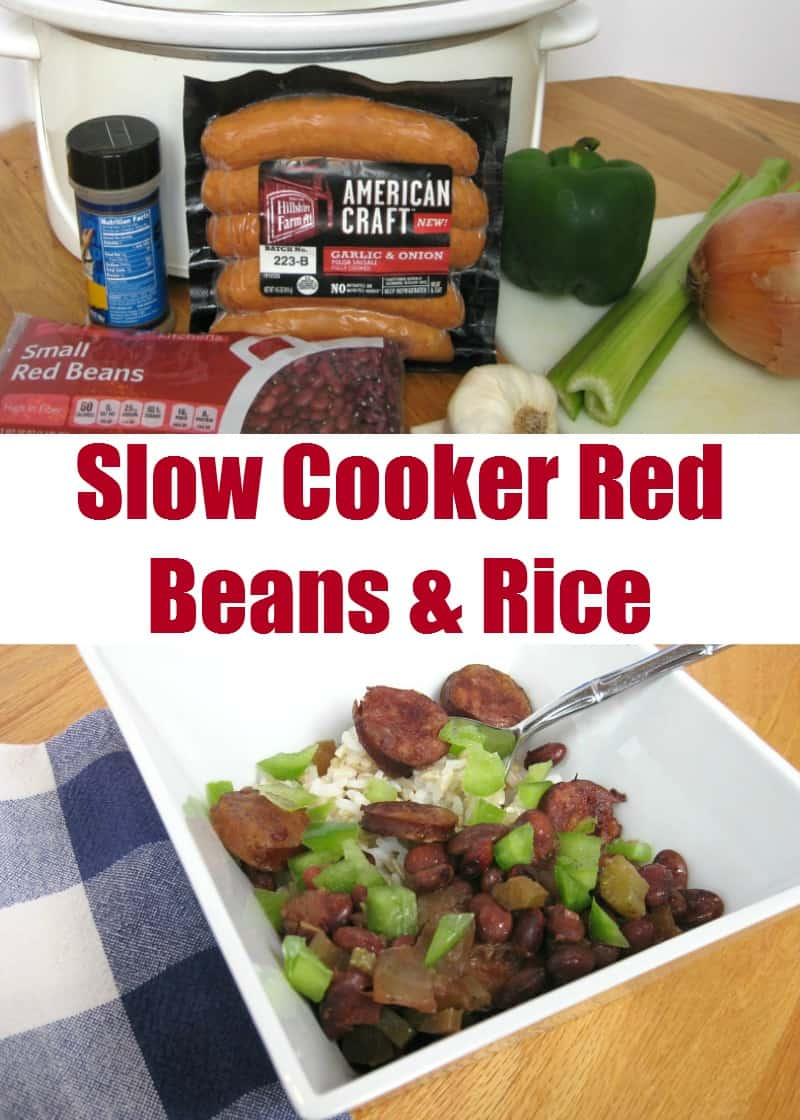 Slow Cooker Red Beans & RIce - Organized 31 #BringHillshireHome #sponsored