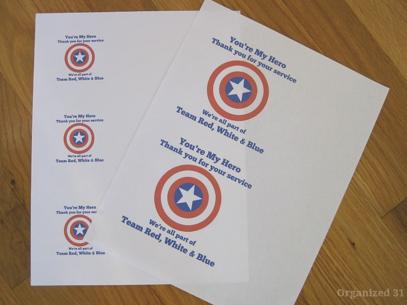 """pages of printable templates with red, white and blue star and """"You're My Hero - Thank you for your service"""""""