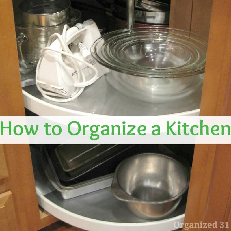 2 organized shelves in kitchen corner cabinet