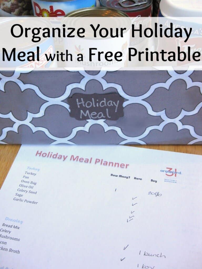 Organize your holiday meals with this holiday meal planner and shopping list.