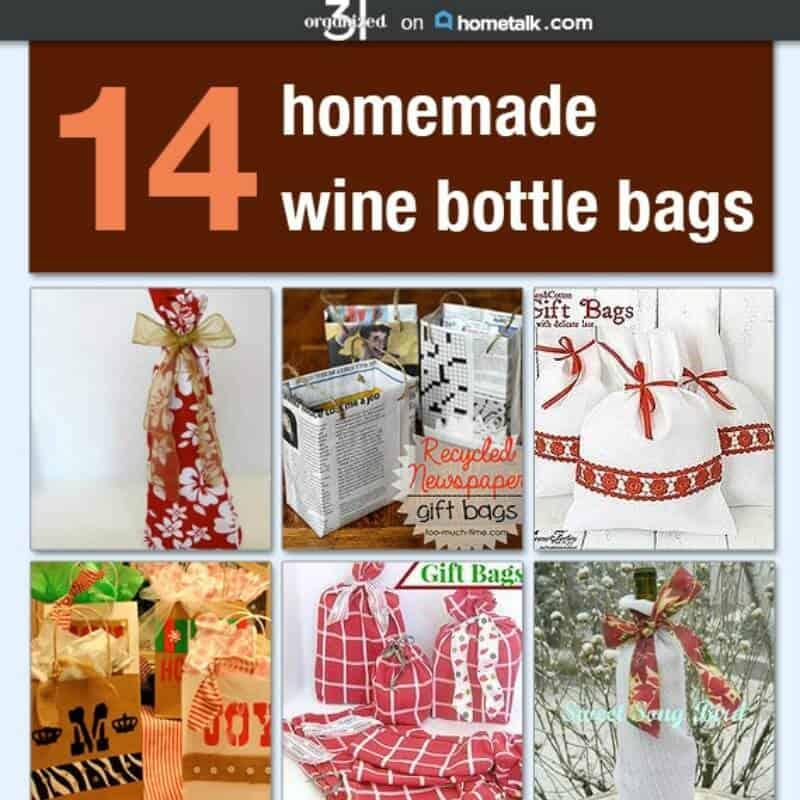 14 Homemade Wine Bottle Gift Bags - Organized 31