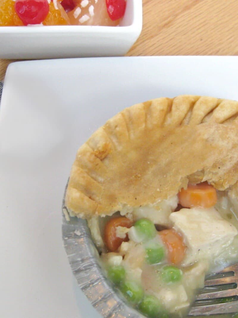 overhead view of close up of pot pie