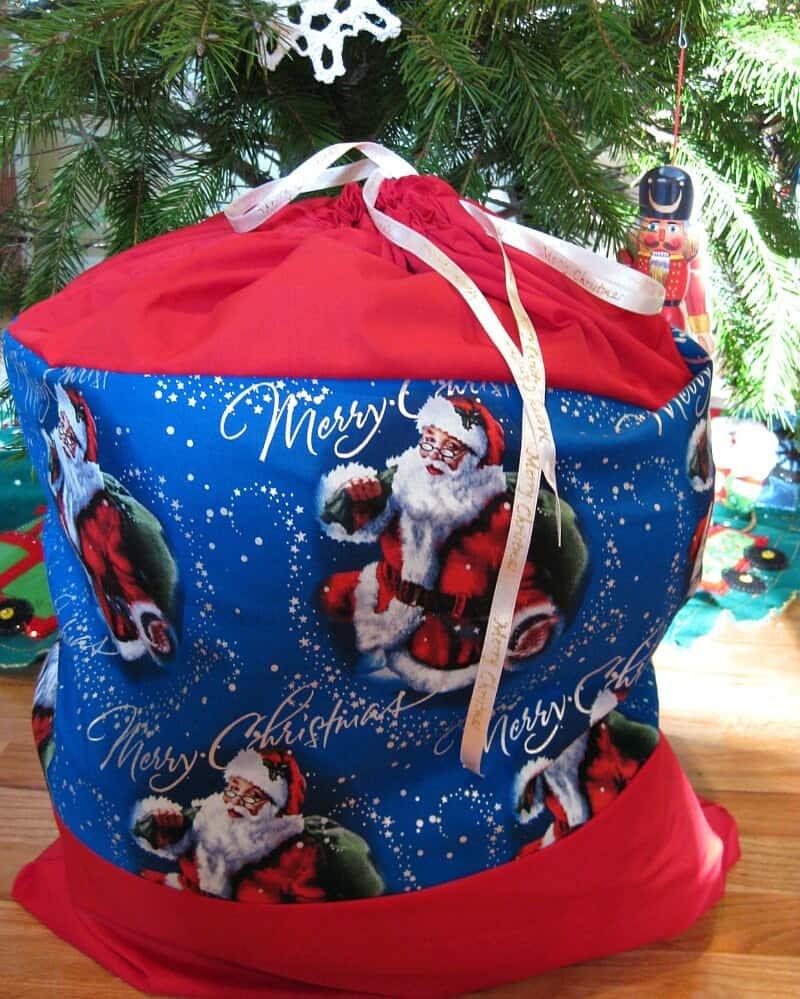 Diy santa sack for christmas toy donations organized