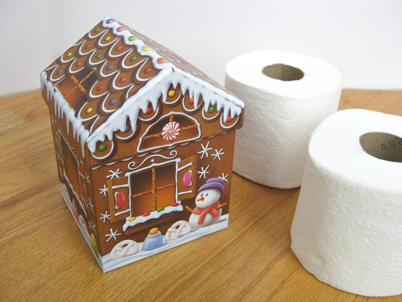 2 rolls of toilet paper next to holiday decorated box on wood table